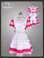 Anime Alice in Wonderland Alice Cosplay Costume Pink Strips Maidess Dress Outfit Dress+Apron+Bow