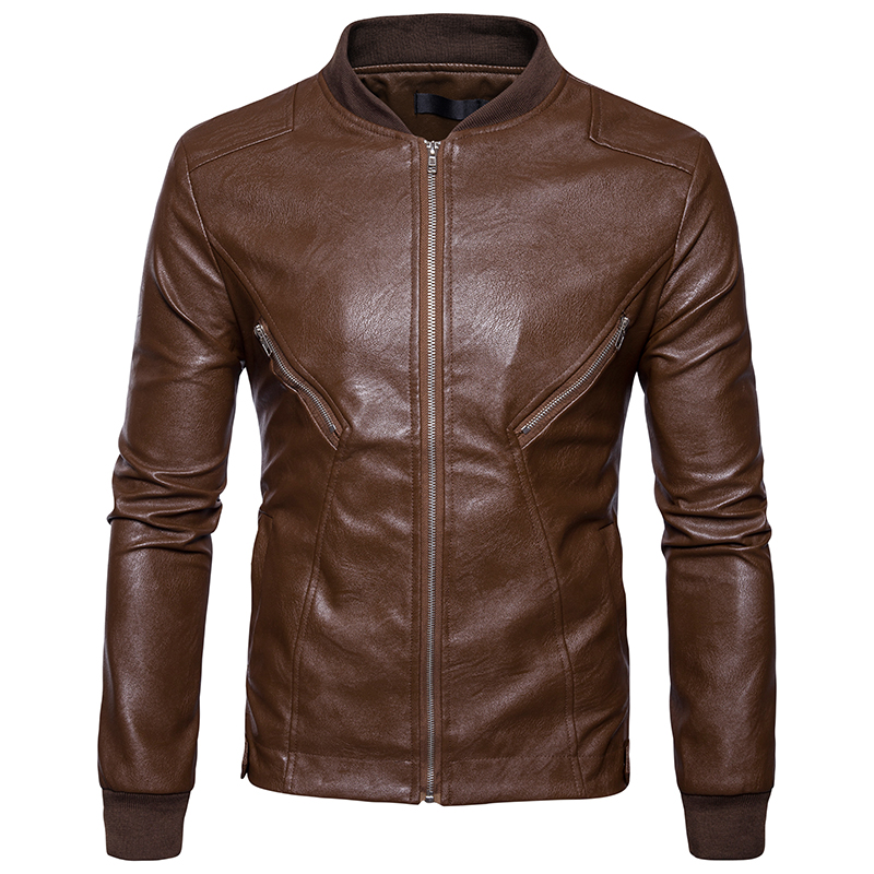 High quality creative new fall winter clothing wholesale Mens Fashion Leather hem cuff spliced coat collar