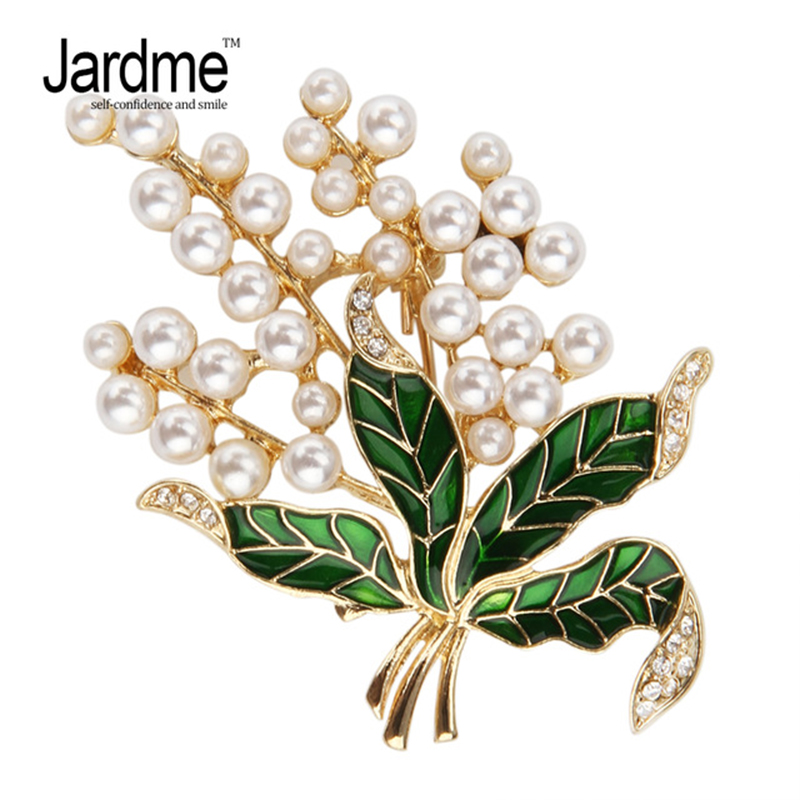 Jardme Multi Pearls Plant Brooch Vintage Elegant luxury Rhinestone Green Enamel Brooches Badges Apparel Accessories цена