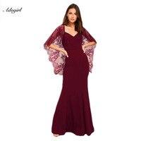 Adogirl Morumsu Kırmızı V Cut Aç Geri Dantel Cape Kol Maxi Parti Elbise Kat Uzunluk 2017 Vestiti Donna Elbiseler Vestidos