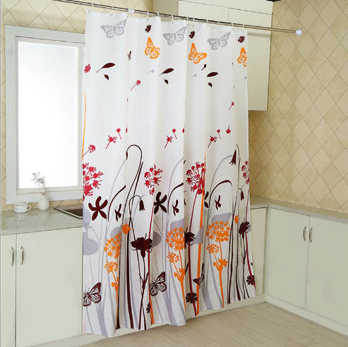 Resistant Fabric Shower Curtain Waterproof And Antibacterial Flower Butterfly Pattern
