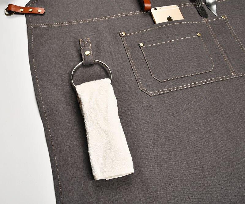 Denim Kitchen Cooking Apron with Adjustable Cotton Strap Large Pockets Blue Barista Men and Women Homewear - 4