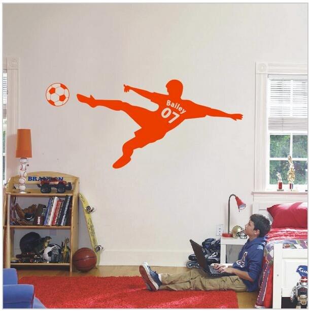 voetbal voetbal gepersonaliseerde naam en nummer muur sticker vinyl kunst aan de muur poster kinderen muursticker kinderen room decor d607 1