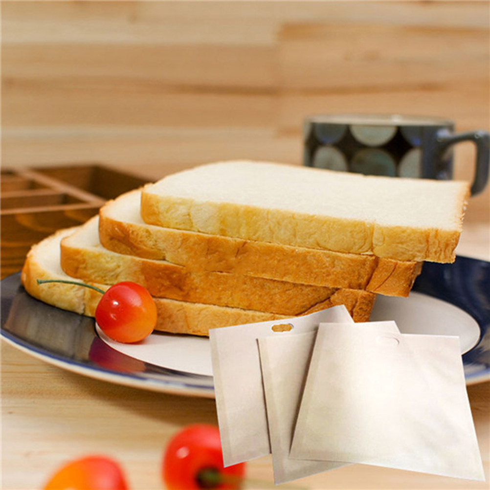 3 Size Toaster Bags for Grilled Cheese Sandwiches Made Easy Reusable Non-stick Baked Toast Bread Bags image