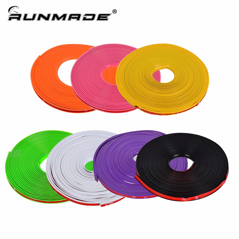 runmade 8M Car Hub Trim Decoration Anti-Collision Strip Wheel Rim Protector Ring Wheel Tire Edge Changer Guard Stickers