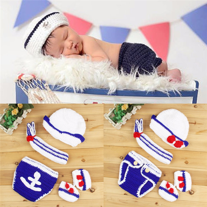 Newborn Baby Knitted Beanies Sailor Design Handmade Crochet Toddler Infant Photography Props Baby Shooting Props 0-6M baby boys