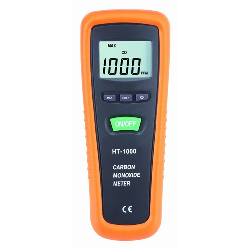 HT-1000 Portable Handheld Digital LCD CO Monitor Meter Gas Detector Carbon Monoxide Analyzer Supports Manual Zeroing
