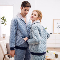 Fashion Thickened quilted Pajamas Set Men's Clothing Winter Coral Fleece Winter keep warm Sleepwear suit casual couple Homewear