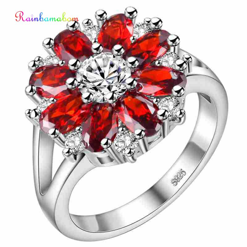 Rainbamabom Luxury Real 925 Solid Sterling Silver Ruby Gemstone Wedding Engagement Flower Ring Fine Jewelry Gifts Wholesale