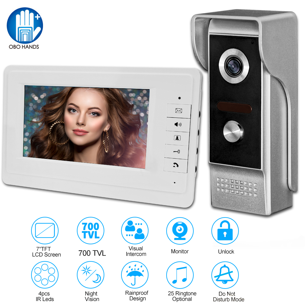 Video Intercom Doorbell 7''TFT LCD Wired Video Door Phone System for home Indoor Monitor 700TVL Outdoor IR Camera Support Unlock 7 inch color tft lcd wired video door phone home doorbell intercom camera system with 1 camera 1 monitor support night vision