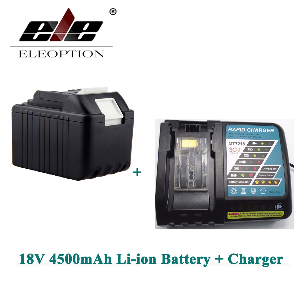 ELEOPTION BL1830 Rechargeable Power Tool battery for Makita 4500mAh 18V Li-ion LXT400 194205-3 194230-4 BL1840 Battery + Charger eleoption for makita 18v 3000mah power tool battery pack for bl1830 bl1840 recharegeable battery cordless drill li ion batteries