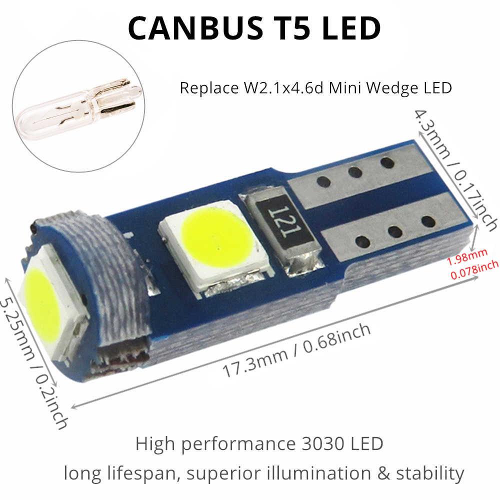 Wljh 6X 7 Warna 12 V T5 Wedge Lampu LED Mobil Dashboard Instrumen Panel Lampu Bohlam untuk Mercedes R129 W140 w163 R107 W124 R170 W208
