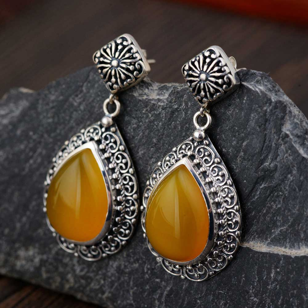 FNJ 925 Silver Drop Earrings for Women Jewelry Yellow Chalcedony Black Stone 100% S925 Sterling Silver boucle d'oreille Earring 925 sterling silver ring natural yellow chalcedony stone 100