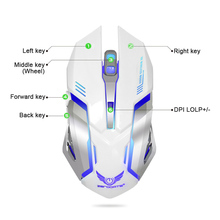 2.4G Rechargeable Wireless Mouse Optical Mouse 6 Buttons 2400DPI Computer Mouse 7 Colors LED Game Mice for PC Laptop Gamer