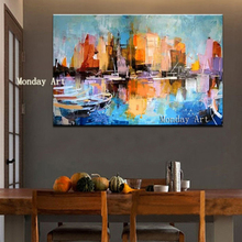 Nordic home decor Large Handpainted Abstract Oil Paintings on Canvas Home Decor Wall Art Pictures Colorful City Building picture