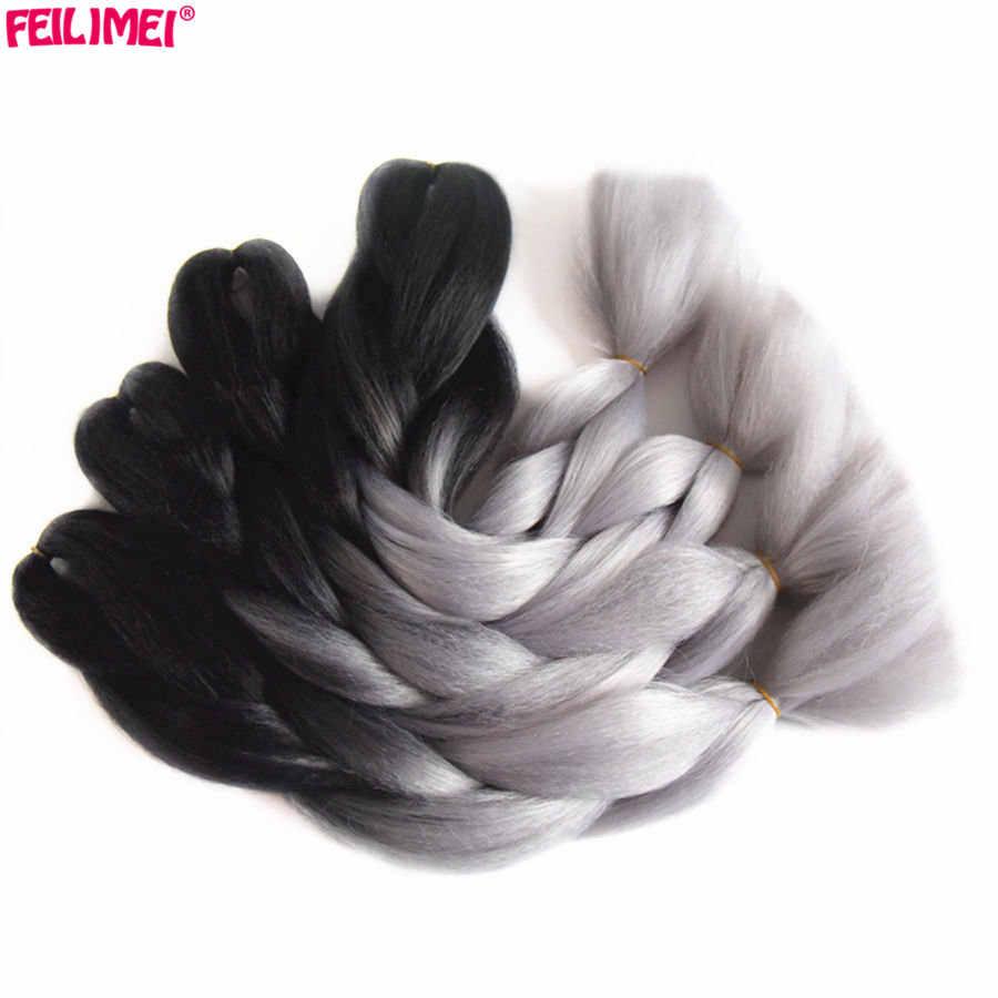 Feilimei Ombre Наращивание волос плетением синтетические два/три тонированное jumbo Косы черный/зеленый/серый/фиолетовый/синий/ блондинка крючком волосы