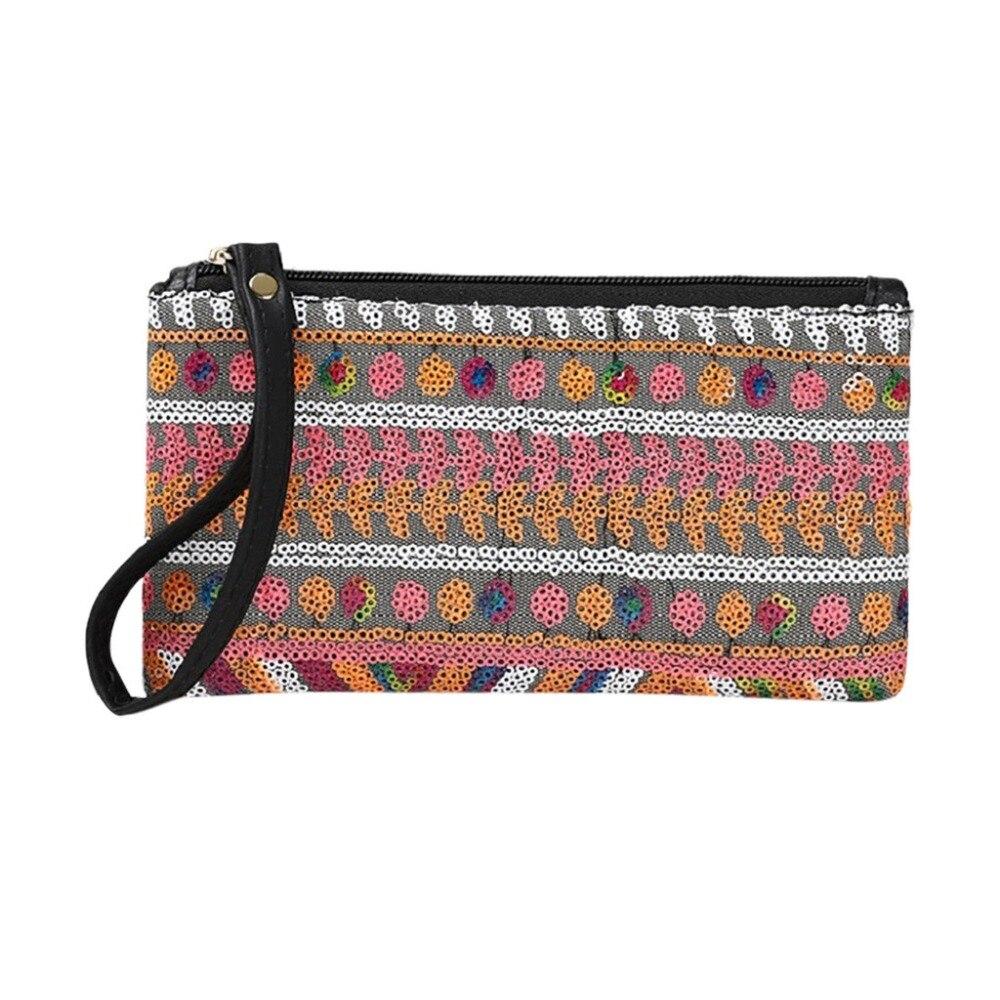 Clutch Handbag Straw Women Wallets Prints Female Long Summer National Sac