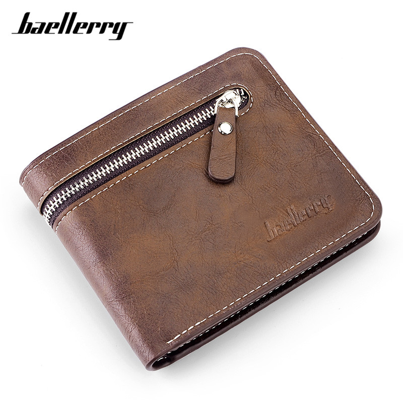 Baellerry Vintage Casual Men Short Wallets Cross Purse Zipper Poucht Coin Pocket Male Small Purses Wallet Card Holder Wholesale japanese anime poke death note attack on titan one piece game ow short wallet with coin pocket zipper poucht billetera