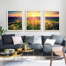 NOOG  Autumn Forest Picturesque Sunse Wall Art Poster Nordic Canvas Painting Posters and Prints Pictures For Living Room Decor