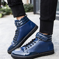 LIN KING New High Top Men Winter Shoes Casual Glitter PU Leather Lace Up Office Shoes Round Toe Flats Patchwork Male Shoes