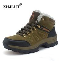 Winter Hiking Shoes Men Boots Plush Warm Waterproof Sneakers Men Trekking Sport Shoes Outdoor Genuine Leather