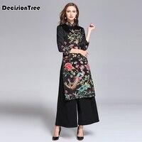 2019 new black woman aodai vietnam traditional clothing ao dai vietnam robes and pants vietnam costumes improved cheongsam