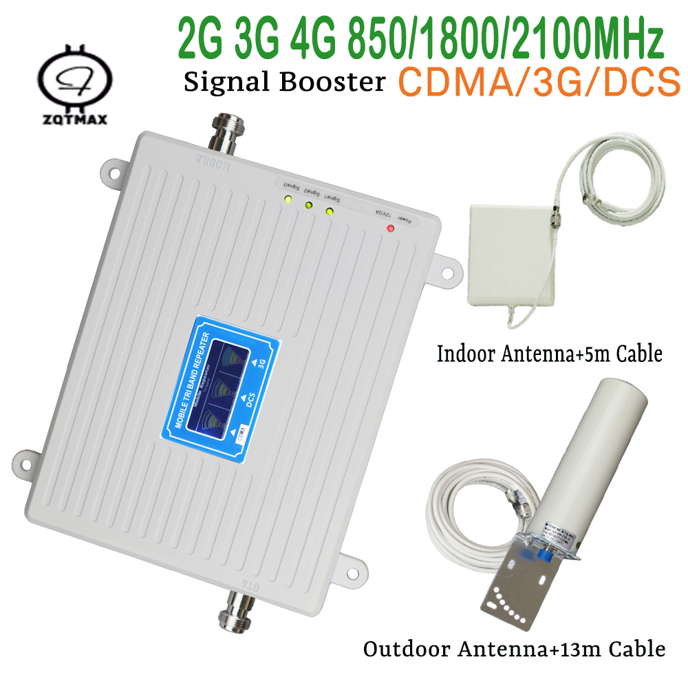 Best Price LCD TRI BAND Speed 2g 3g 4g 850 / 1800 / 2100mhz Smart Mobile Signal Booster Cell Phone Signal Repeater Amplifier