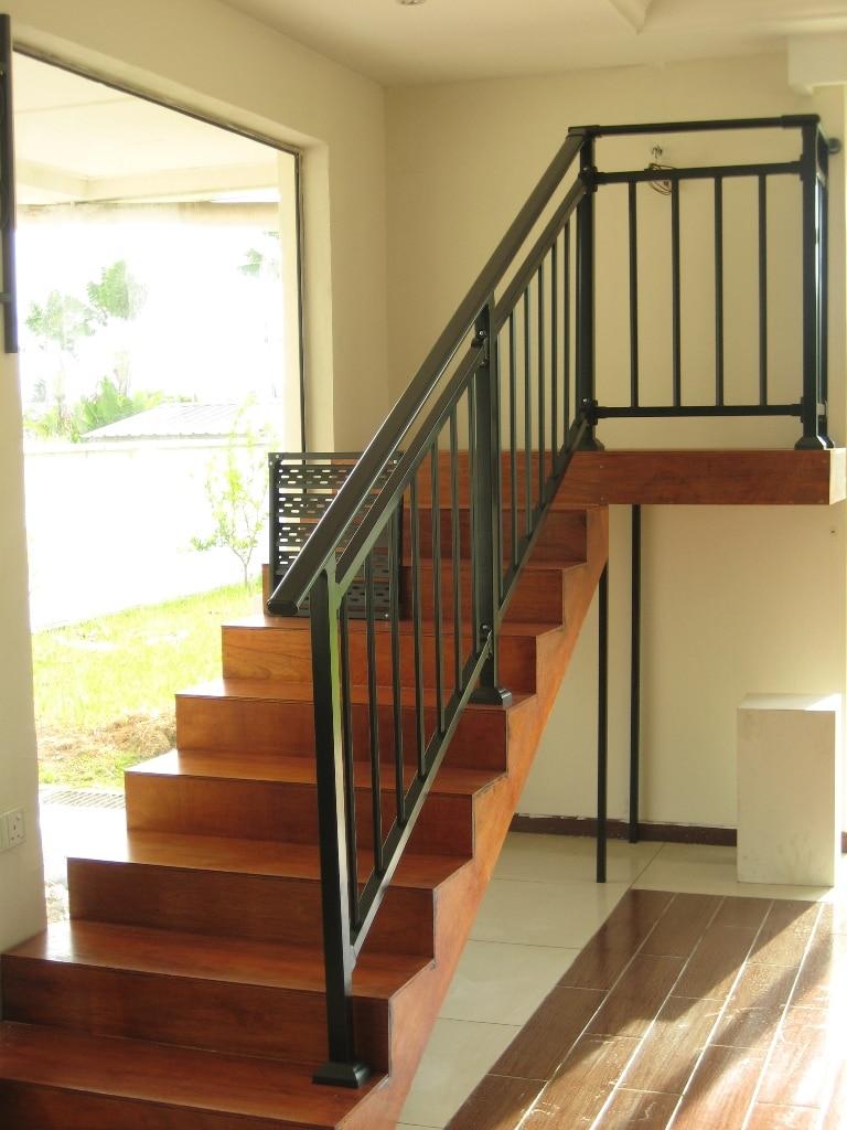 Galvanized Steel Stair Railings With Top Railing 60 30 1 1Mm | Black Horizontal Stair Railing | Room | Split Entry | Steel | Modern | Metal