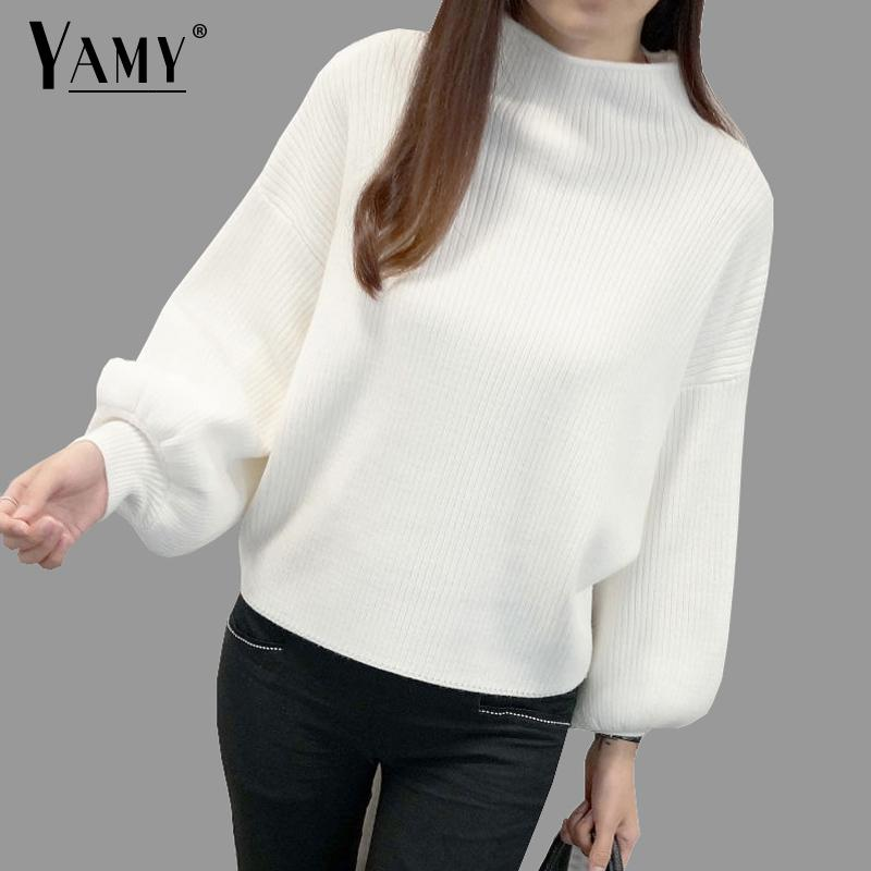 Winter Women Sweaters Fashion Red White Turtleneck Lantern Sleeve Pullovers Loose Knitted Sweaters Female Jumper Tops 2019