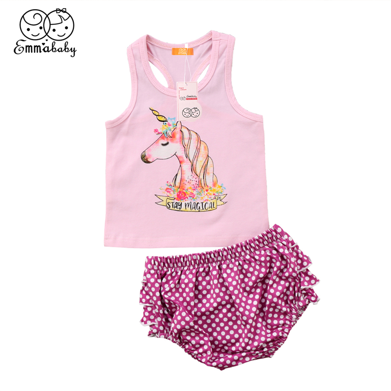 2pcs/Set 2018 Summer Baby Girl Clothes Newborn Toddler Baby Girl Sleeveless Cartoon Unicorn Cotton Vest Tops+Ruffle Shorts Pants