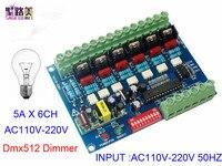110V 220V AC High voltage 50HZ 6 channels Dimmer 6CH DMX512 5A/CH LED Decoder DMX led dimmer board For led Stage light lamp