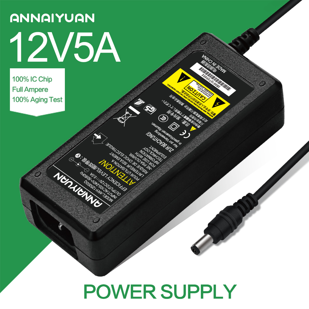 1pcs 12V5A AC 100V-240V Converter Adapter DC 12V 5A 60W Power Supply DC 5.5mm x 2.1mm for 5050/3528 LED Light LCD Monitor ac 85v 265v to 20 38v 600ma power supply driver adapter for led light lamp