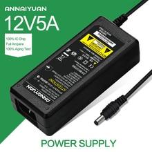 1pcs 12V5A AC 100V-240V Converter Adapter DC 12V 5A 60W Power Supply DC 5.5mm x 2.1mm for 5050/3528 LED Light LCD Monitor