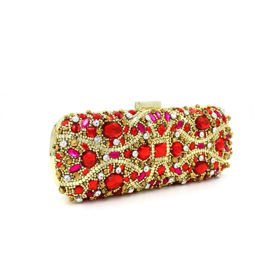 ФОТО Fashion Rectangular Lady Gold Wedding Bags Luxury Crystal Bag Women Evening Handbags Party Clutches Red Purse Day Clutch