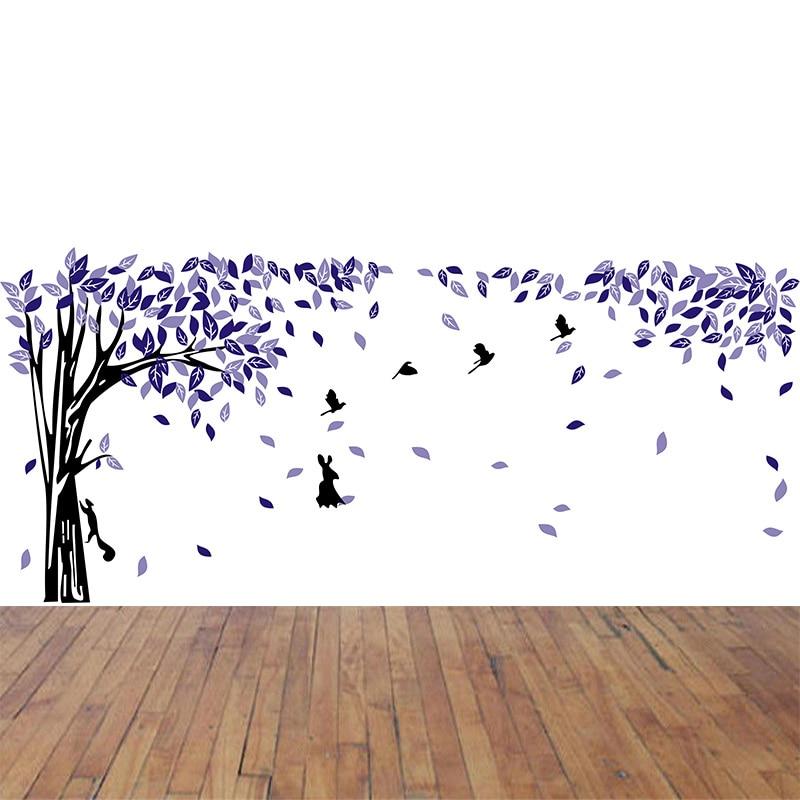 420*180 CM grand arbre fleur oiseau mur autocollant papier mural pour salon décoration de la maison pvc vinyle autocollant art