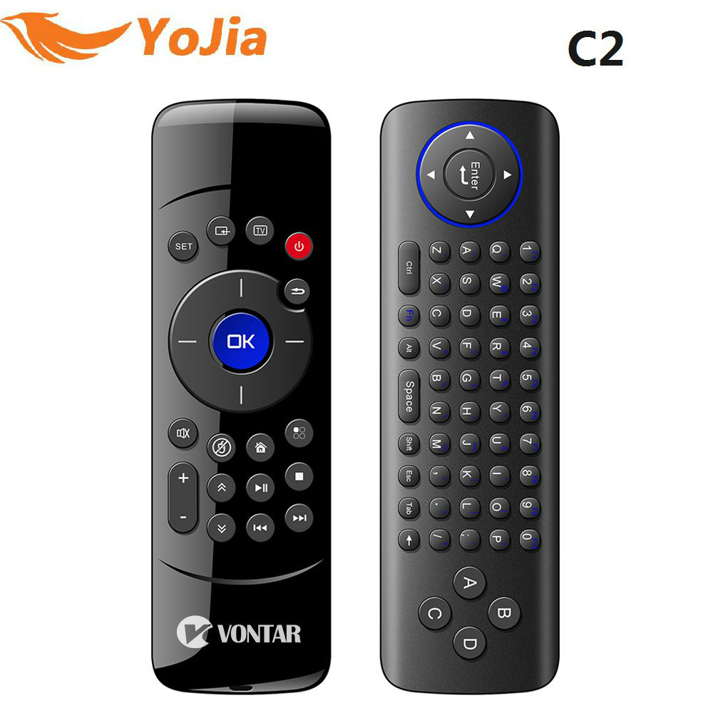 Original VONTAR C2 Fly Air Mouse 2.4GHz Wireless Keyboard C2 Remote Control with IR Learning for Android TV Box X96 TX3 MINI mele f10 deluxe fly air mouse 2 4ghz wireless keyboard remote control with ir learning function for smart android tv box mini pc