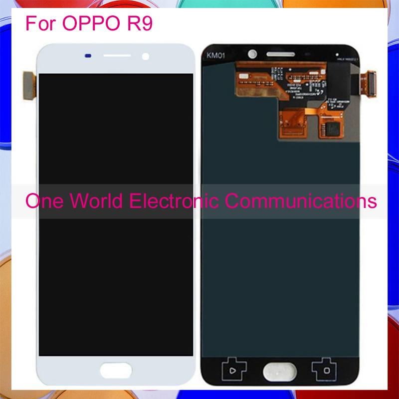 White 5.5 For OPPO R9 Phone Full LCD Screen Display Digitizer With Touch Screen Complete Assembly Tracking Code Free Shipping