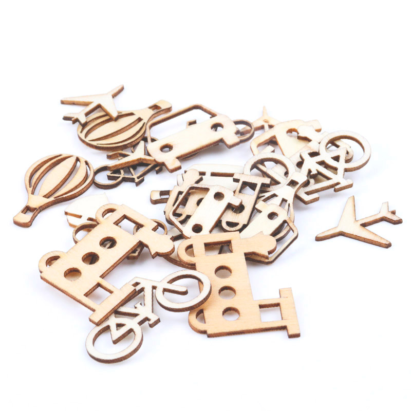 Transportation Cars Series Pattern Wooden Scrapbooking Craft For Handmade Accessory Decorate Home DIY 20-40mm 24pcs