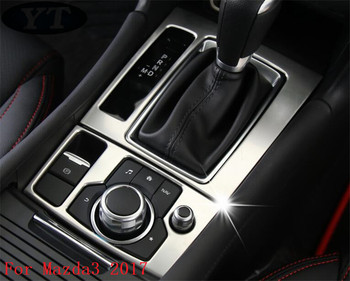 Car stying, auto interior gear and brake panel trim for Mazda 3 2017 ,stainless steel,car accessories image