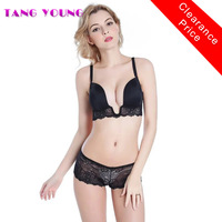 TANG YOUNG Intimates Sets Sexy Lingerie Deep U Low Cut Lace Bra Briefs Set Push Up
