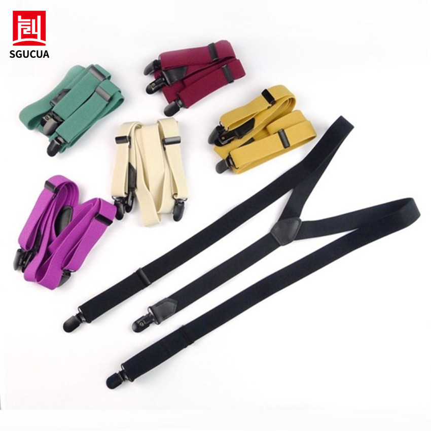 NEW6 kinds of pure color hanging suspenders men women 3 black clip braces men British fashion leather suture elastic adjustable