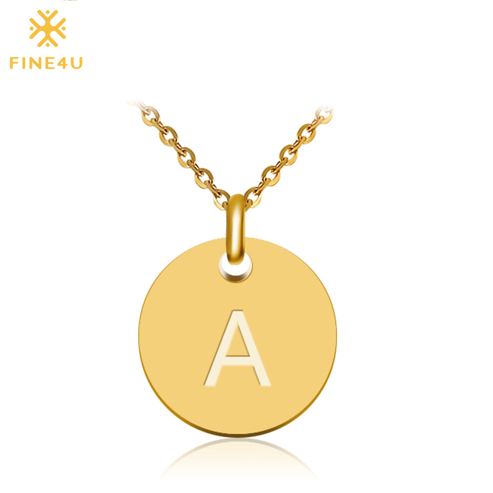 2018 New FINE4U N027 Disc Pendant Necklace Gold/Silver Letter Alfabet Necklace 316L Stainless Steel Chain Necklaces For Women (China)