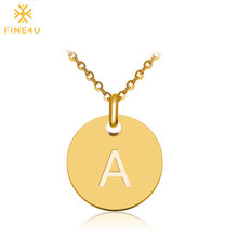 2018 New FINE4U N027 Disc Pendant Necklace Gold/Silver Letter Alfabet Necklace 316L Stainless Steel Chain Necklaces For Women(China)