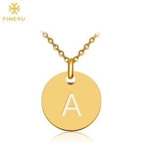 FINE4U N027 Disc Pendant Necklace Gold/Silver Color Letter Alfabet Necklace 316L Stainless Steel Chain Necklaces For Women