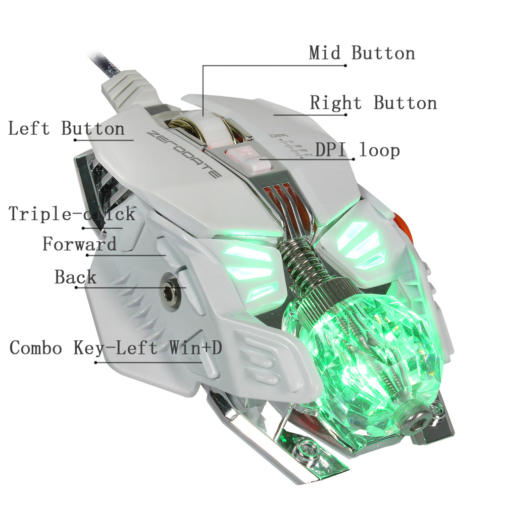 Image 5 - ZERODATE  Wired Gaming Mouse Adjustable With LED Light 4000DPI Mice Macro Programming Gamer Mouse For PC Laptop Game-in Mice from Computer & Office