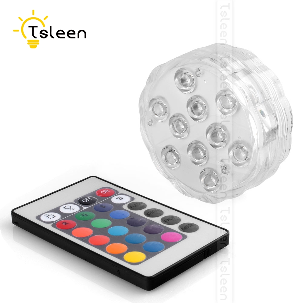 Bright Tsleen 4pcs Multiple Color Underwater Wireless Remote Control Tank Pool Led Light Submersible Ip68 Waterproof Party Holiday Lamp Buy One Get One Free Led Lamps