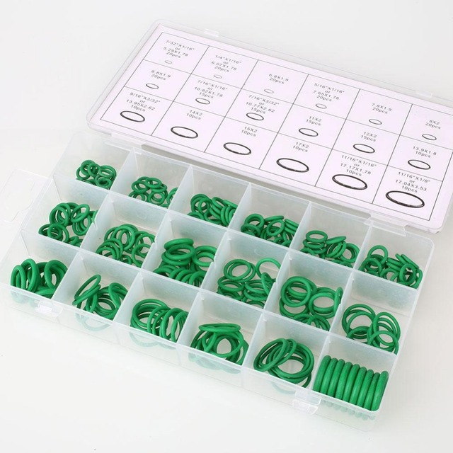 270Pcs 18 Sizes Car Vehicle Air Conditioning HNBR O Rings Assortment Repair Kit Green Auto Vehicle Repair Car-styling