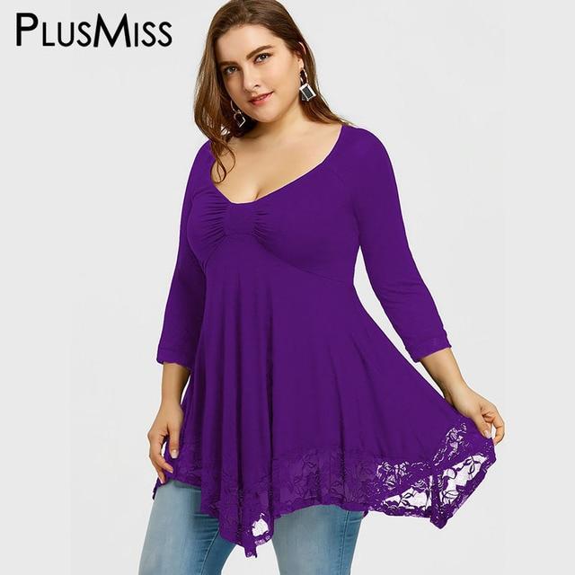 PlusMiss Plus Size 5XL Sexy Deep V Neck Lace Tunic Top Women Clothing Large Size Long Sleeve Vintage Loose Blouse Ladies Blusas 2