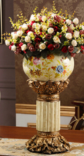 European style of large vase. High-grade resin. Flowers.