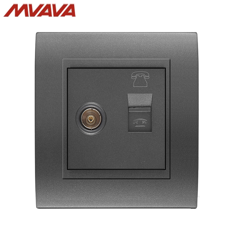 MVAVA TV/Television Aerial + Network Internet LAN RJ45 Jack PC/Computer Decorative Socket Luxury PC Black Outlet Free Shipping universal three inserted multifunctional tabletop french socket with rj45 black silver free shipping